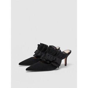 ZARA BLACK SUEDE HEEL WITH RUFFLE - SIZE 40